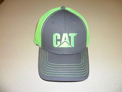 Caterpillar Charcoal Hat Neon Green CAT logo & mesh Trucker Cap Hat Ballcap  - Neon Green Hats
