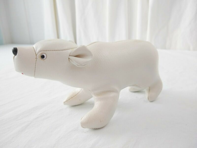 Vintage TOMI LEATHER From Japan White Polar Bear Figurine