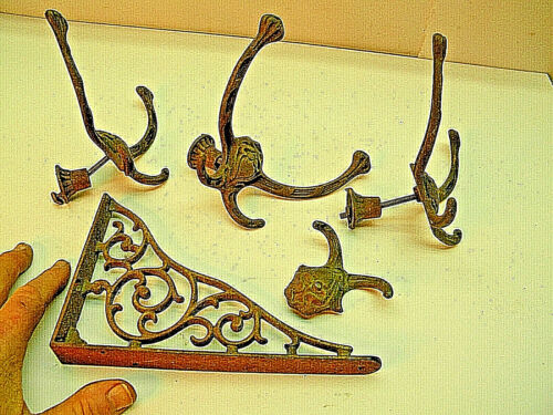 Vintage Antique Ornate Coat Hangers, Shelf Bracket,  Cast Iron