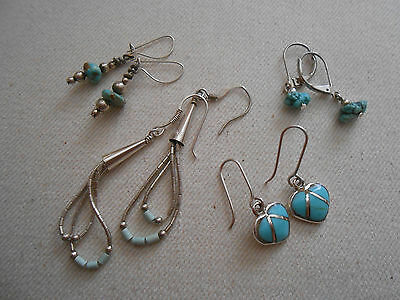 Four Pairs of  Vintage Southwest Sterling Silver Turquoise Earrings  039008