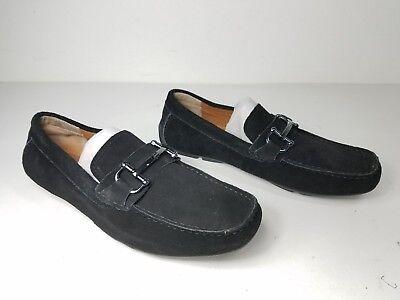 size 8.5 Alfani James Black Suede Moc Loafers Slip On Mens Drivers Shoes