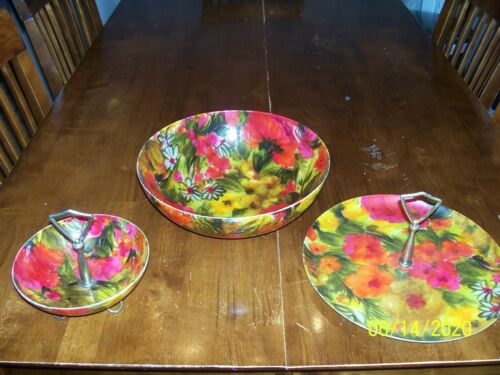 Floral Bowl and Serving Set, fiberglass, 3 piece set, Rare Find