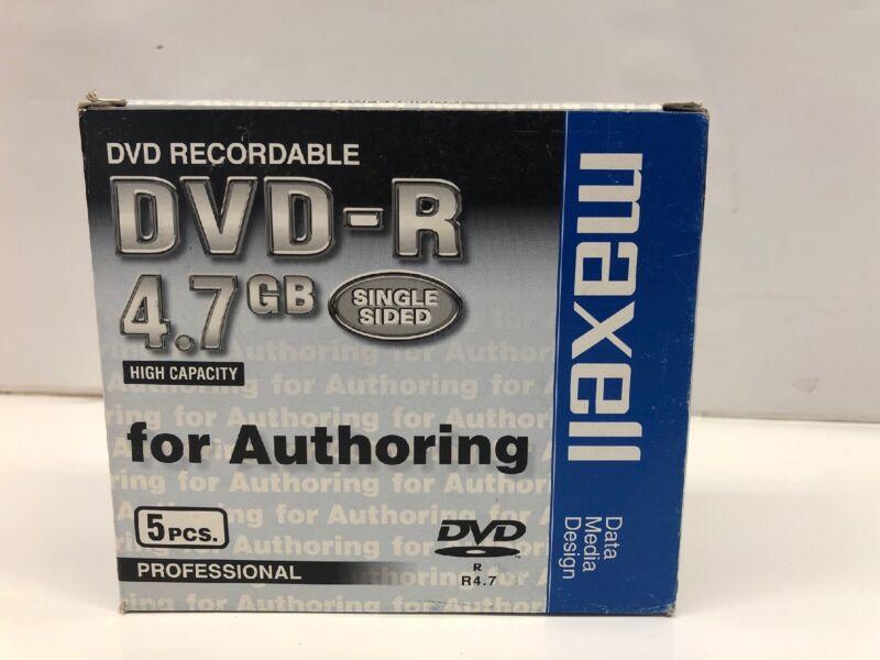 5 pcs Maxell Blank DVD-R DVDR 16X Disc Logo Top 4.7 GB