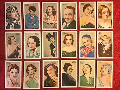 1934 GALLAHER-CHAMPIONS OF SCREEN & STAGE-FILM STARS 18 CARD SUBSET-RED BACKS-VG