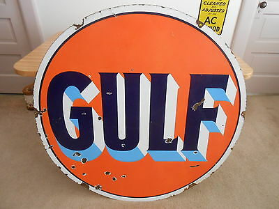"Vintage Sign Original Gulf Gasoline Double Sided Porcelain 42"" Dia."