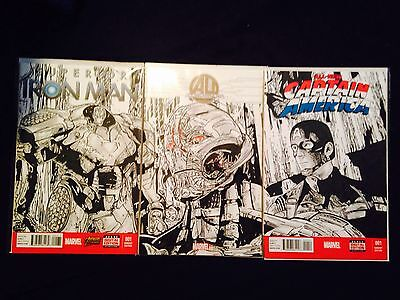 Age Of Ultron #1 Connecting Sketch Covers of Iron Man,Captain America,Ultron COA