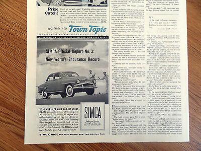 1958 Chrysler Simca Sedan Ad  70.02 Miles Per Hours for 887 Hours