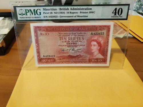 Mauritus Pick 28 rare Ten rupees Rare graded XF