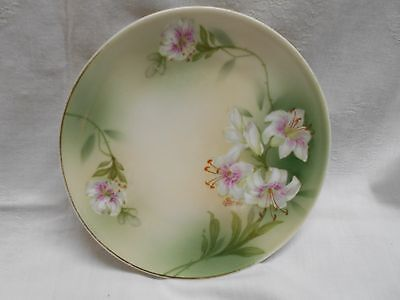 vintage Bavaria Germany decorative plate signed Pierres ? lilly flowers