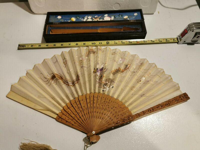 Antique Chinese Carved Sandal Wood Hand Embroidered Silk Fan with Lacquer Box