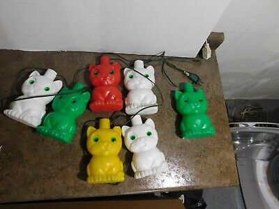 VTG Set 7 Blow Mold Plastic Kitty Cats Patio RV Camping Party Patio Light String