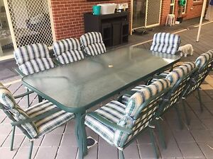Outdoor Dining Table + 8 High Back Cushioned Chairs Hectorville Campbelltown Area Preview