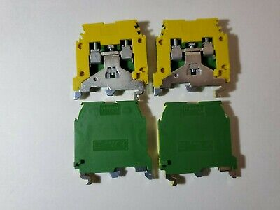 Lot Of 4 Entrelec M4-6p - Terminal Block Ground 4mm Green Yellow Iec.947.7.2