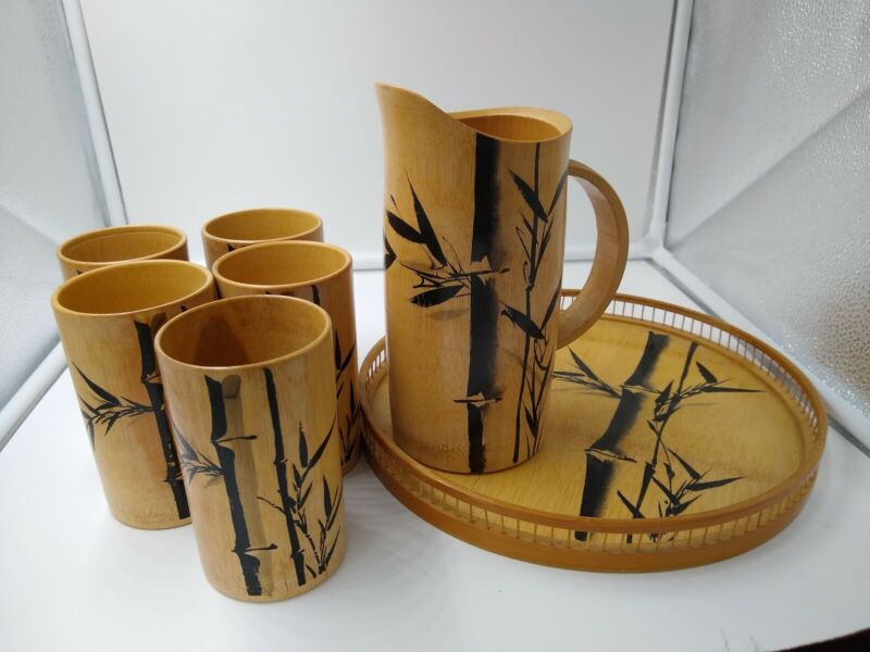 Vintage Bamboo Bar Set. Cups (5), Pitcher, and Tray. Handpainted