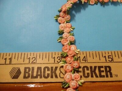SHIFFLI FLORAL CLUSTERS TRIM~~APPLIQUES~SHADES OF PEACHY PINK/GREEN~5/8