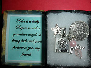 Good luck  charm, lucky sixpence angel charm gift for a friend