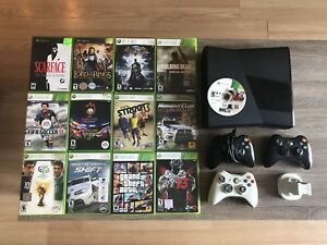 Xbox 360 with 250GB with 13 games and controllers.