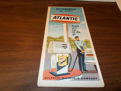 1967 Atlantic Oil Pittsburgh Vintage Road Map