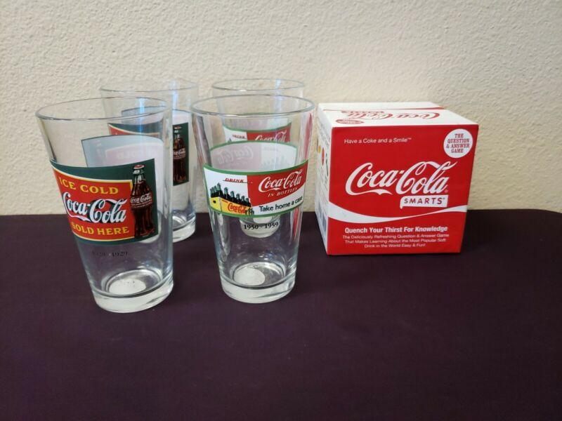 4 COCA COLA Coke 16 oz Pint Glasses + COCA COLA SMARTS GAME