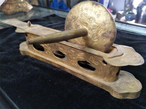 Chinese gilt bronze Medicinal roller with inscription horse&flower motif veins