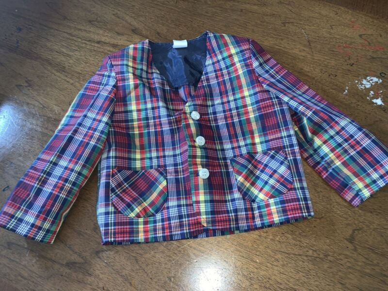 Vintage Boys Plaid Blazer Jacket 4T