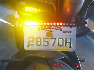 Motorcycle LED Turn Signal Tail Brake License Plate Integrated Light Quad FLEX