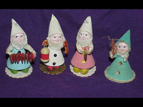 4 vintage Mica Christmas Cardboard Pipe Cleaners Gnome Elf Ornaments - Japan