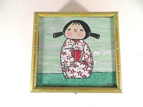 """Handpainted La Aurora Cigar Box Japanese Girls in Kimono 6.5"""" Square Dominican"""