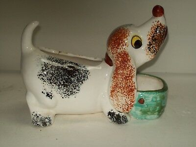"""Atlas"" ~ Dog with Bowl ~ Vintage Pottery Bud Vase ~ Hand Painted ~ Japan"