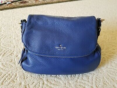 Kate Spade Cobble Hill Devin Leather Bag Navy Blue Satchel Crossbody