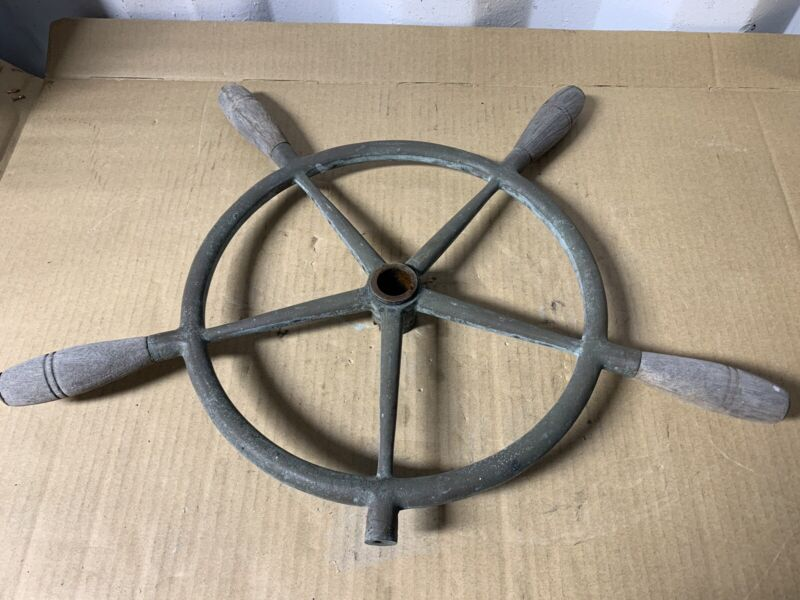 "Vintage Bronze Ship's Steering Wheel, 22"", One Inch Shaft Hole"