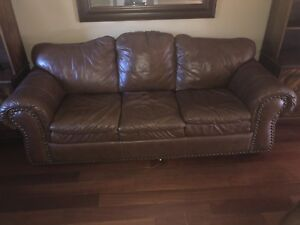 Leather living room set, oversized sofa, love seat and chair