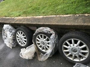 5x100 alloy VW rims and Pirelli winter tires. 205 55 r16