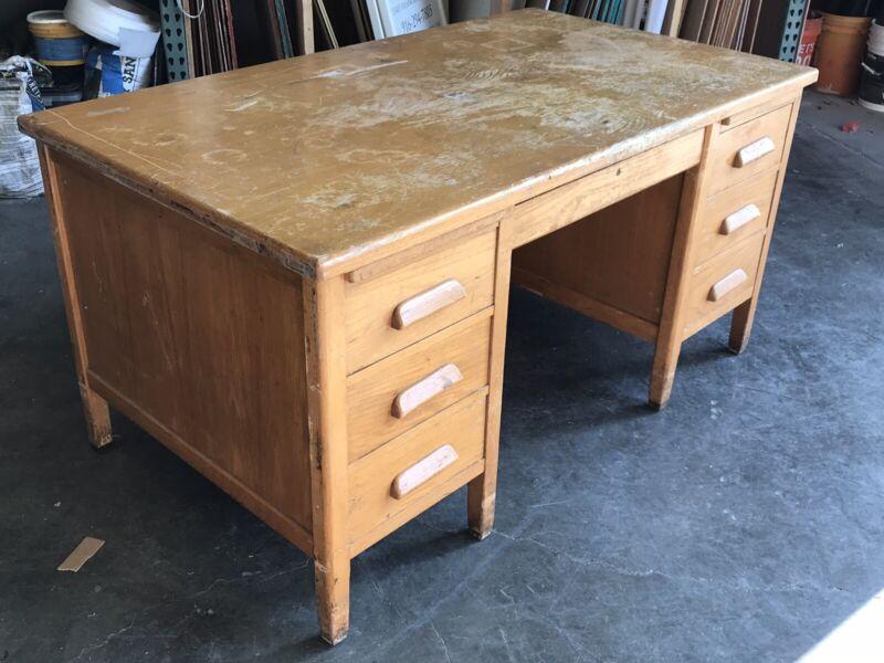 Vintage Oak Wood Banker Attorney Teacher Desk & Rolling Swivel Armchair