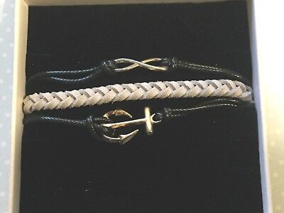 Triple Strand Leather - Triple Strand Charm Black & Gray Leather Bracelet Anchor Infinity Sign Charms