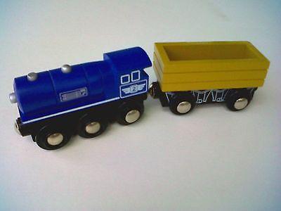 MAXIM Wooden Train Set-2003~Steam Engine/Cargo Car~Thomas Comp~Boys & Girls-3+