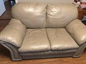 Brown leather sofa set with coffee table and 4 chairs with table