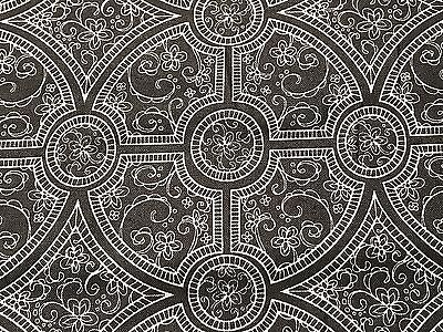 Fabric Medallions Damask Charleston Gray on Gray Cotton 1/4 -