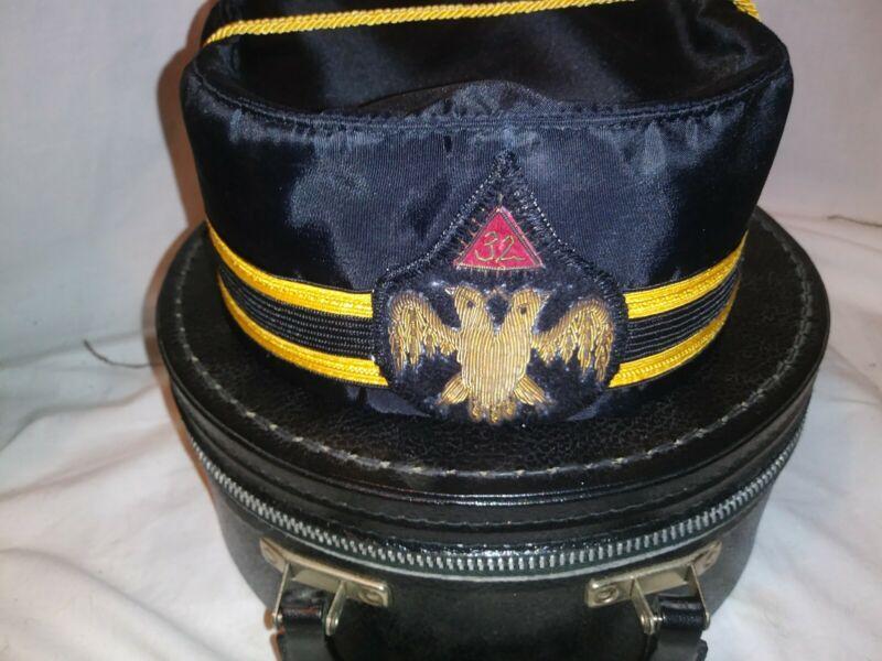 Vintage Masonic Scottish Rite 32 Double Eagle Free Mason Hat & Hat Box