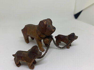 Vintage Wooden St Bernard With Two Pups Carving Sculpture