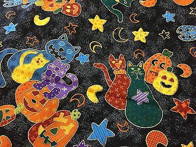 Quilt Fabric Cats Cat Pumpkins Jack O Lantern Pumpkin Black Halloween Joann Bthy
