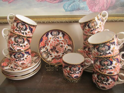 Royal Crown Derby England Imari Kings Pattern Set Of 10 Demitasse Cup And Saucer