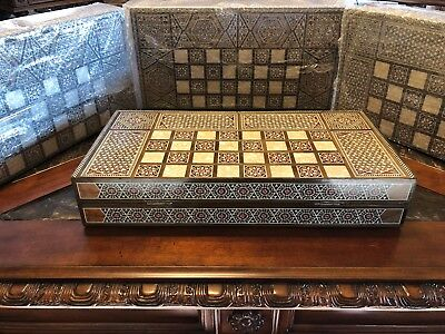 """Syrian Hand Carved Mosaic Wood Mother of Pearl Middle Eastern Backgammon Set 19"""""""