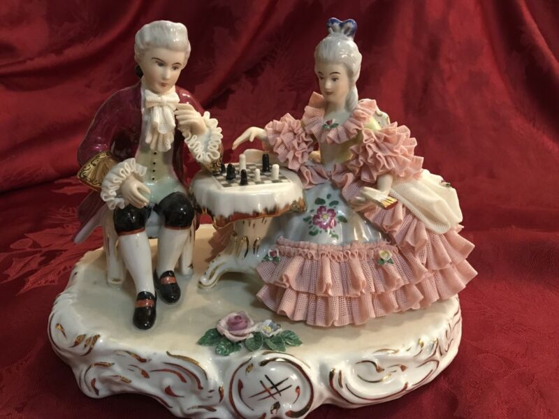 Dresden Large Figurine Porcelain Lace Man Lady Playing Chess