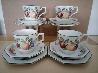 4 x Johnson Brothers Fresh Fruit Tea Trios Cups Saucers and Side Plates