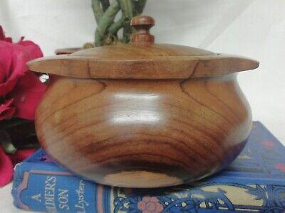 Vintage Mid Century Turned Hard Wood Lidded Treen Bowl Trinket Storage Pot