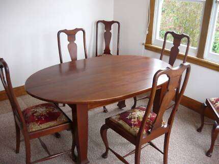 Antique Oval Blackwood Dining Table And 6 High Back Chairs