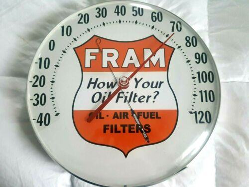 FRAM Oil Filter Advertising Thermometer Sign Gas Service Station Rat Rod Racing