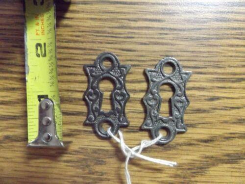 2 Vintage Ornate Small Cast Key Hole Escutcheon Covers