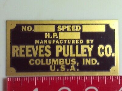 Reeves Engine Reproduction Name Tag Nameplate